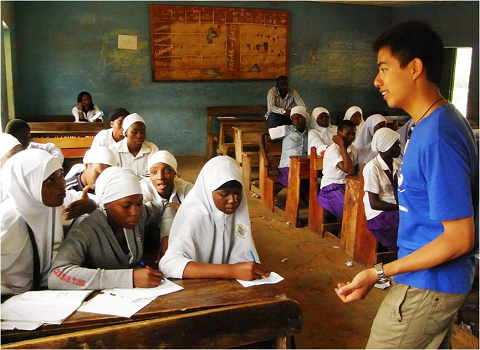 Student taking part in a service-learning programme in Nigeria