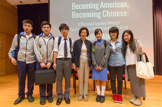 Ruby Yang and students from the filming team of Fanling Kau Yan College
