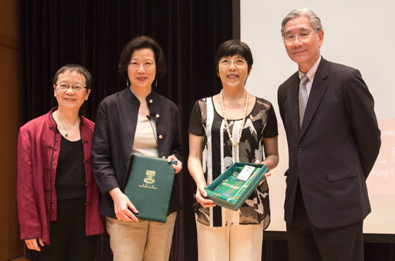 (From left) Professor Ying Chan, Director of Journalism and Media Studies Centre; Ms Ruby Yang; Ms Belinda Hung, a benefactor of the Scheme; and Professor SP Chow, Pro-Vice-Chancellor