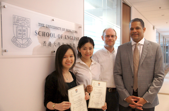 (from left) This year's awardees Jacqueline and Helena were presented the scholarship certificates by Dr Dirk Noel, Head of School of English, and Professor Derek Collins, Dean of Arts.