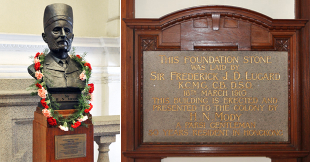 The bust and the University's Foundation Stone are located inside the Main Building.